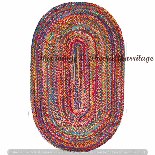 Reversible Oval Braided Area Rug Multi Color Cotton Rug Floor Decor Rags Carpets