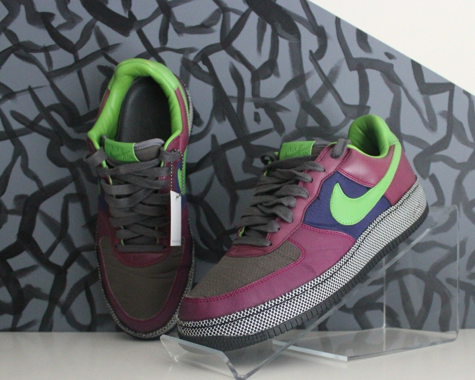 Nike Air Force One Insideout Rare Classic Green Checkered Uptown Streetwear M 10