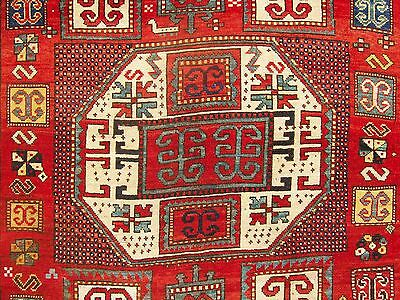EXTREMELY BOLD, LARGE, ANTIQUE 1870 KARACHOPH KAZAK CAUCASIAN RUG@NR. Dehati.1