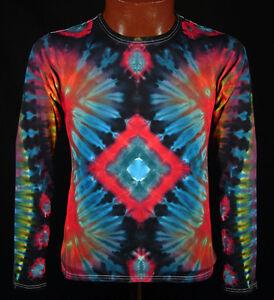 T Shirt Gr.S 5XL langarm handgefärbt Hippie Tie dye Batik