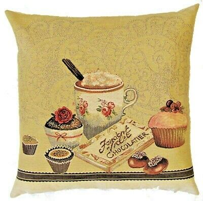"""NEW 18/"""" 45CM TEA TIME FONDANT VIOLET CHOCOLATIER TAPESTRY CUSHION COVER 4980"""