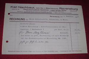 Rechnung Alt Antik Karl Nachbaur Ravensburg Bau Möbel Schreinerei