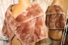1950s Dorado estola de piel de visón marrón Envolvente Ditsy Vintage Vamp glamour ostentoso