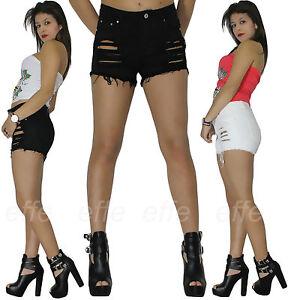 Short femme short jeans slim déchiré effiloché taille haute blanc ... bb6c5a85381
