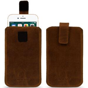 Handytasche-Leder-Curley-Pull-Tab-Sleeve-Huelle-5-5-5-Zoll-Cover-dunkel-Braun