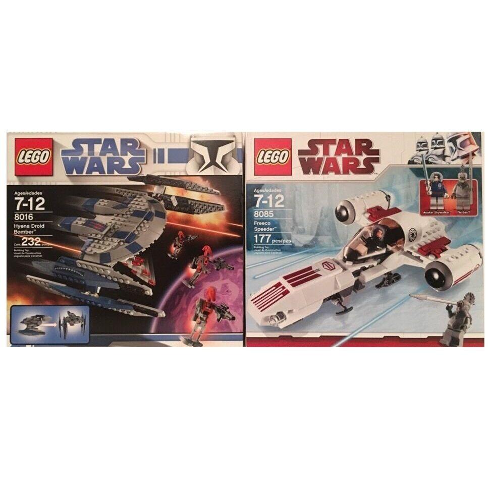 Lego Star Wars 8016 & 8085 Hyena Droid Bomber & Freeco Speeder New