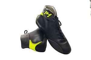P1 Racewear Monza FIA Approved Soft Leather Race, Rally Boots Black/Fluro