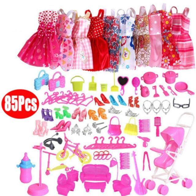 85Pcs Items For Barbie Dolls Dresses Shoes Jewellery Clothes Set Accessories