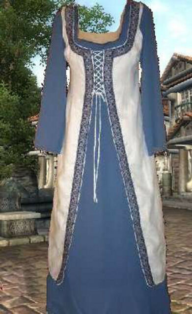 Renaissance SCA Garb Medieval Costume Frt-Lcg Linen White Surcote CtnKirtle L XL
