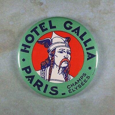 "Vintage Luggage Label Fridge Magnet 2 1/4"" Hotel Gallia Paris Warrior 1950's"