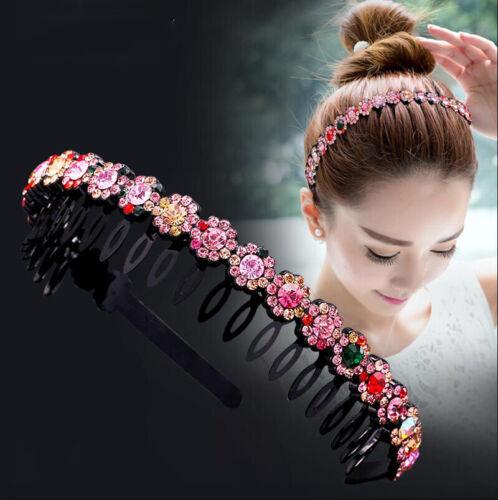 3x Rhinestone Crystal Stylish Beaded Elastic Headband Hair Band Hair Jewelry