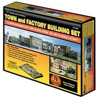 Woodland Scenics S1485 N Town & Factory Set Structure Kit on sale
