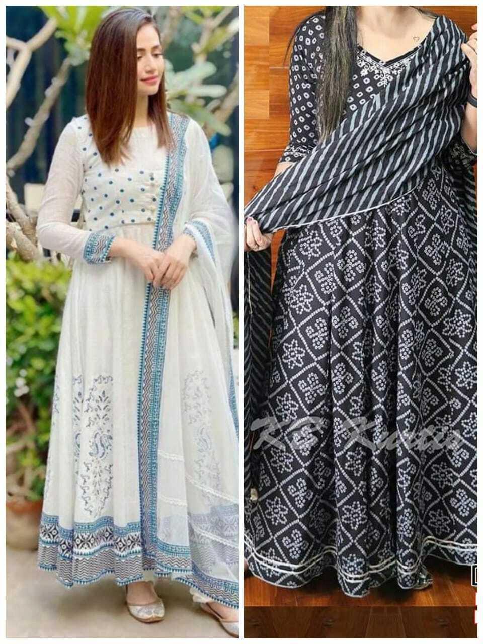 Combo Pack Of Two Anarkali Kurta Printed Beautiful Bollywood Gown Kurti Dupatta
