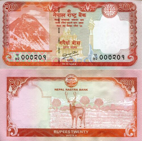 NEPAL 20 Rupees Banknote World Paper Money UNC Currency Pick p71 Everest /& Deer