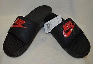 6a311c3c3a73 Nike Benassi JDI Black Challenge Red Men s Slides Sandals - Sizes 7 ...