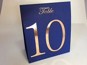 Navy Blue Table Number Tent Style Wedding Birthday Table Decor Rose