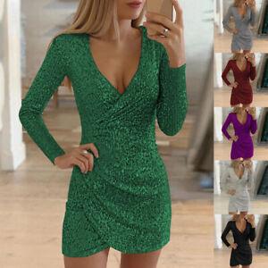 Women-Sexy-Glitter-Dress-Bodycon-Skirt-Deep-V-Neck-Long-Sleeve-Party-Solid
