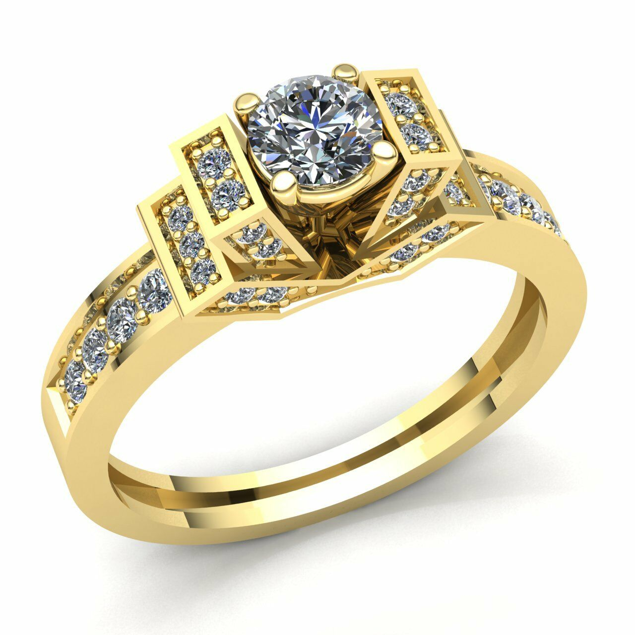 Genuine 0.75ct Round Cut Diamond Ladies Solitaire Fancy Engagement Ring 10K gold