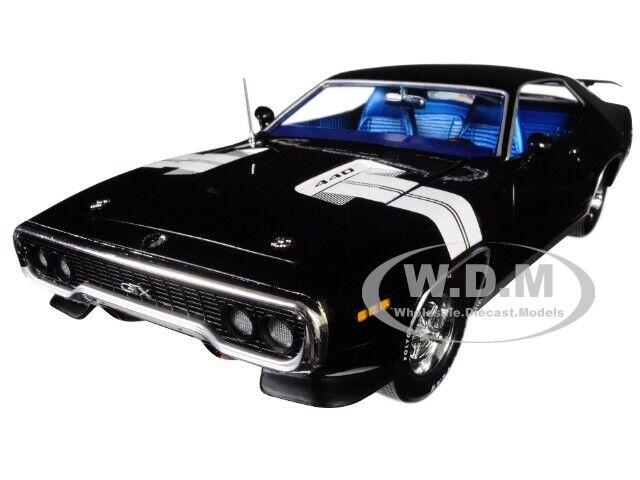 1971 Plymouth Gtx nero limitado 1002 piezas 1 18 Diecast Modelo Coche por Autoworld AMM1133