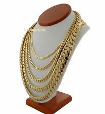 Mens 14k Miami Cuban Link Chain Necklace Bracelet 5mm to 12mm Gold Plated