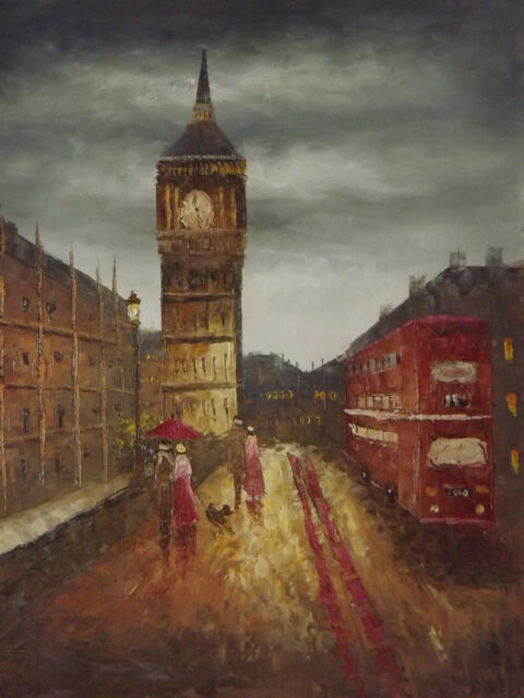 London Large Oil Painting Canvas City scape Contemporary Modern English Original
