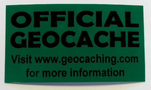 3 x Cache stickers for Geocaching black print on green sticker