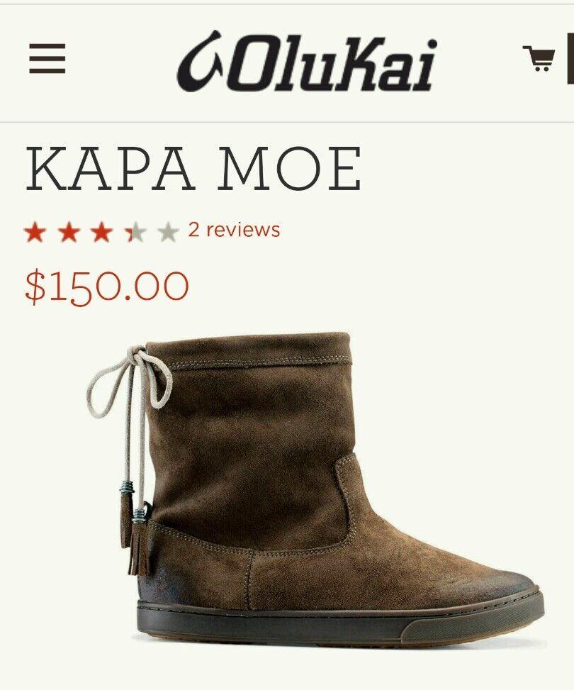 Olukai Kapa Moe botas al tobillo en gamuza Mustang Nuevo En Caja