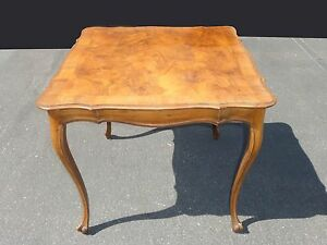 Details About Vintage French Provincial Style Burl Wood Veneer Carved Bridge Card Table