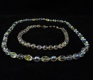 Vintage-CRYSTAL-Glass-BEADS-NECKLACE-Aurora-Borealis-Two-15-26-Opalescent