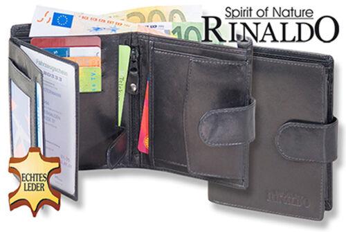 Rinaldo ® cuir porte-monnaie en noir avec extérieur verrous et cuir en hartgeldfach