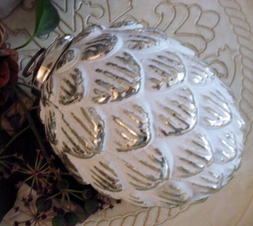bille de verre SOLDES 30/% Blanc Argent 10 cm brocante cônes Queue paysans argent verre