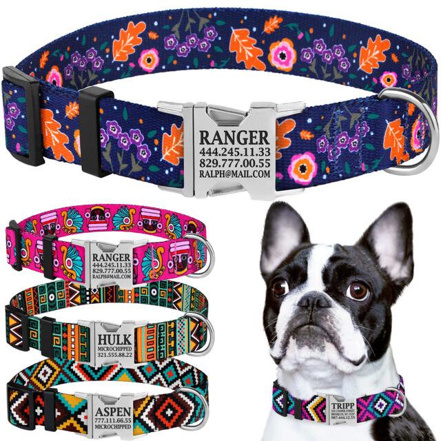 Nylon Personalised Dog Collar Engraved Custom ID Name Heavy Duty Collars S M L
