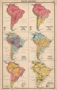 1931 MAP ~ SOUTH AMERICA SHOWING TEMPERATURE RAINFALL RACES INDIANS South America Temperature Map on south america continent map, south america seismicity map, south america climate map, south america physical map, south america drought map, south america wind map, south america topographic map, south america time zone map, south america vegetation map, south korea temperature map, south america interactive map, south america rainfall map, pampas grasslands south america map, north america temperature map, south america elevation map, south america color map, south american weather forecast, central america climate zone map, south america water map, south america animals,