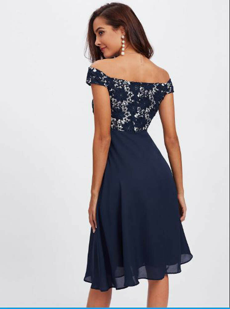 Guipure Lace Dress with Bardot Bodice Navy Blue Off Sho