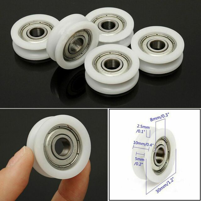 CHEERBRIGHT Nylon Round Pulley U Groove Track Roller Bearing 4 Pieces,8x46.5x10mm