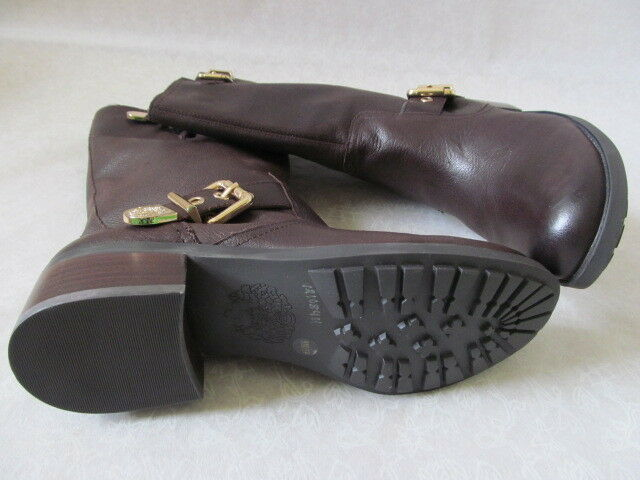 VINCE CAMUTO BROWN/GOLD LEATHER RIDING Stiefel SIZE 8 1/2 1/2 1/2 M - NEW W BOX 44ab24