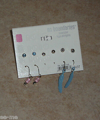 New! Earring Sets~baby Pink & Baby Blue Tones~5 Pair Set!! Vivid And Great In Style