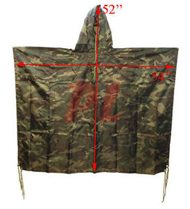 Military USMC Style All Weather Poncho Rain Coat - Woodland