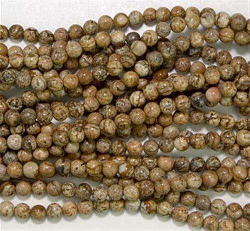 6mm Picture Jasper Round Beads 60 +//- beads per strand