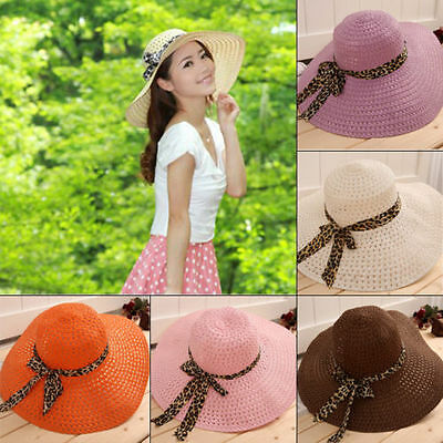 Women Lady Wide Large Brim Cap Summer Hollow Beach Sun Straw Floppy Beauty Hat