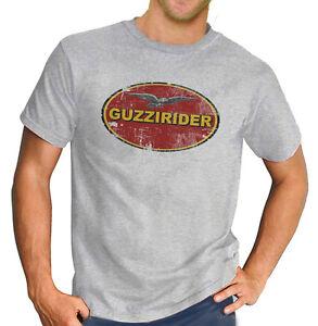 Moto Guzzi Rider Italien T-Shirt Classique Moto Motard Rétro Gris T-Shirt