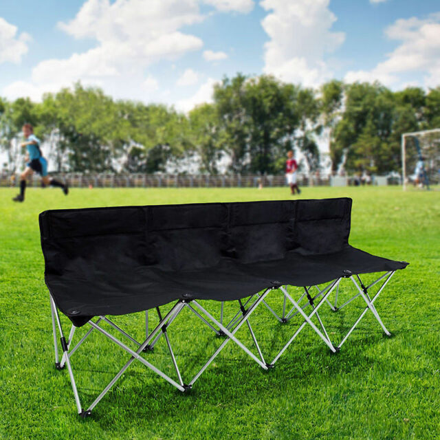 4 Seats Folding Portable Bench Sports Football Rugby Spectators Chair Black