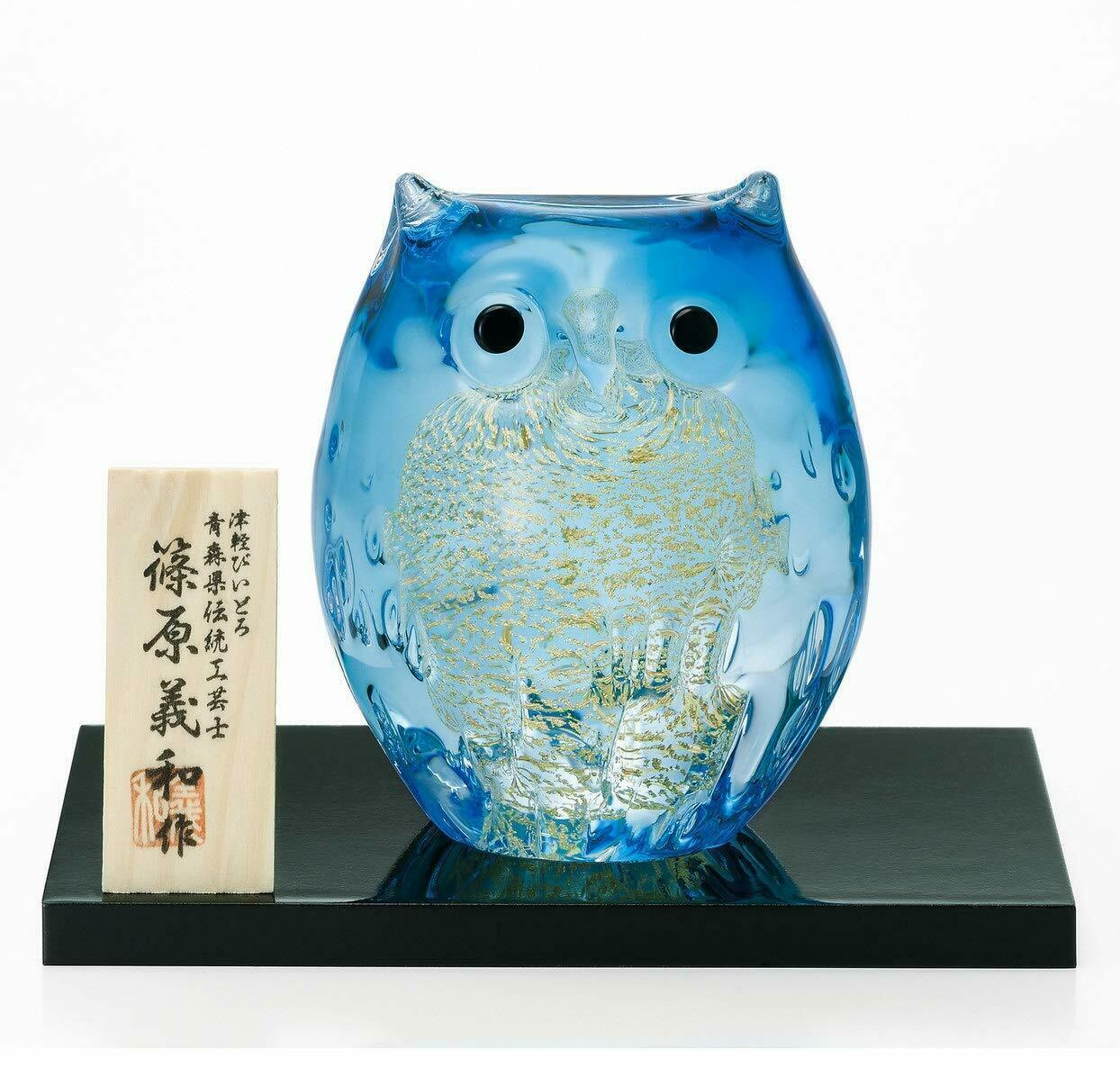 Aderia Tsugaru Vidro verrerie Ornement Parent Hibou Bleu Clair Or F-62989 Japon