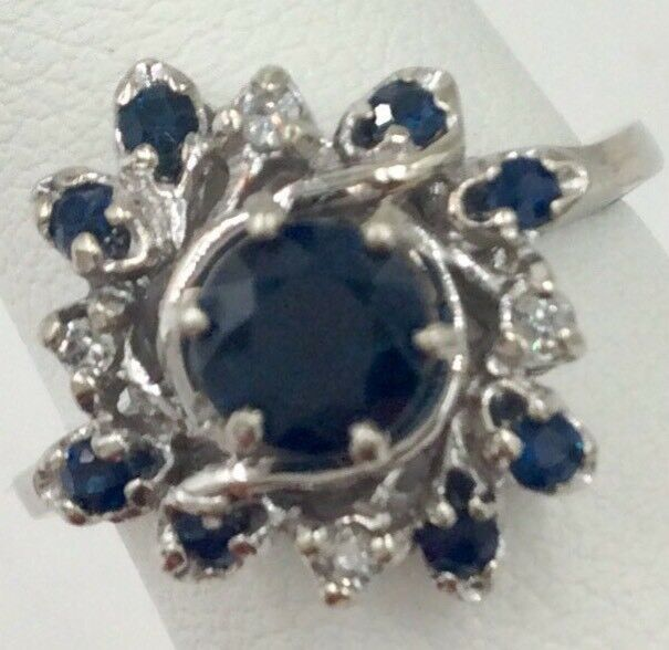 14K White gold 1.00TCW bluee Sapphire & Diamond Ring Size 6.25 5.1Grams