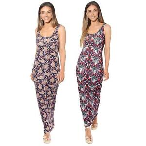 Womens-Ladies-Floral-Bodycon-Maxi-Long-Sun-Dress-Sleeveless-Pattern-Summer-Beach