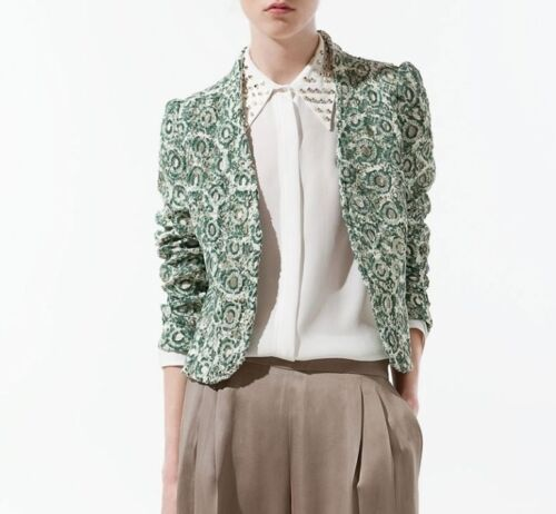 Jacket uk Size Zara Unique Gorgeous Bnwt 8 Lace cream Xs Guipure 6 Green xzw1BYZBq