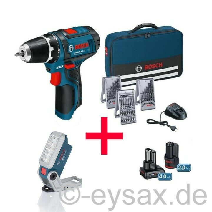 Bosch Professional Akku-Bohrschrauber GSR 12V-15+AKKU-LAMPE+43-tlg. Zubehör-Set