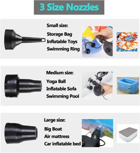 Multi-fonction électrique Pompe à Air pour Gonflable Lit de camping piscine Voiture Maison 2 en 1