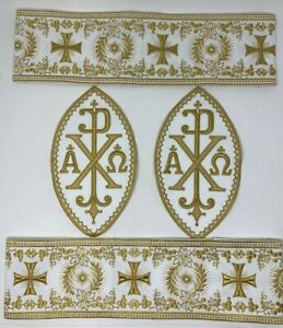 Vestment-A-amp-o-Px-Cruz-Emblems-Banda-Oro-Rayon-Blanco-5PCS-Lote-Paquete