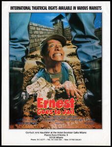 ERNEST GOES TO JAIL__Original 1990 Trade AD / ADVERT__Jim Varney__Charles Napier
